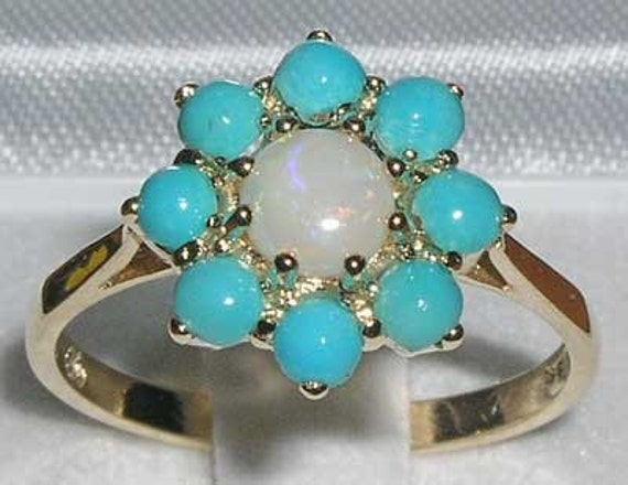 English 9K Yellow Gold Natural Opal & Turquoise Cluster Flower Anniversary Ring - Made in England -Customize:14K, 18K, Yellow, Rose, White