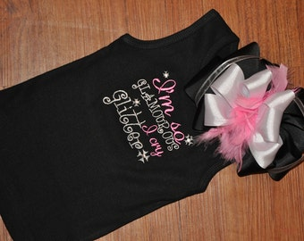 Custom Rhinestone and Embroidered Girls Glamour Tank, Onesie, or ruffle Tee 2t-7/8 or Infant 0-24m