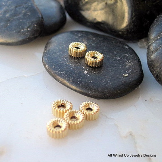 14k Gold Filled Rondelle Spacer Beads - 3x5mm - Qty 6