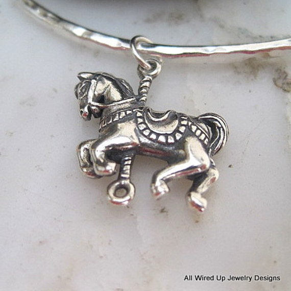 Reserve for Pat -Sterling Carousel Horse Charm Pendant - 22 x 15mm