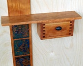 Floating Shelf and Drawer with Copper Accents and Beach Pebble Pull