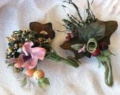 Two Vintage Flower Corsages Flower Brooch Boutonniere