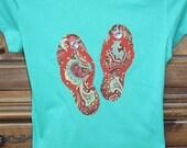 Handmade Flip Flop T Shirt with Rhinestone Embellishments