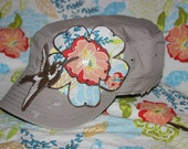 Handmade Womens Distressed Military Hat - Flower with Hummingbird