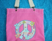 Handmade Peace Sign Tote or Beach Bag with Rhinestone Embellishments- personalized