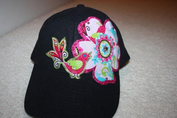 Handmade ball cap- bird and flower on white ball cap