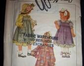 Vintage 1988 Simplicity 8768 Little Girl's Dress & Jumper Pattern New Factory Fold Sz 5