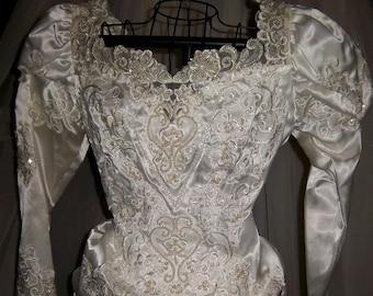 Vintage New Wedding Gown by Biljoy White Satin Size 10 Detachable Train New unworn