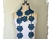 Reserved for Lisa - Teal flower scarf - Crochet Flower Scarf
