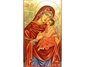 Handpainted icon of Holy Virgin Compassion-OOAK freeshipping