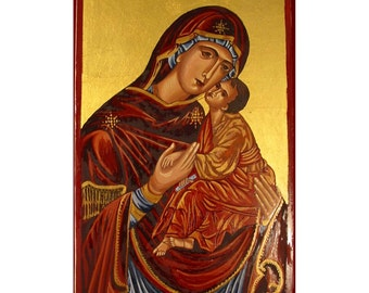 Handpainted icon of Holy Virgin Compassion-OOAK freeshipping, reserved for Fringeartist
