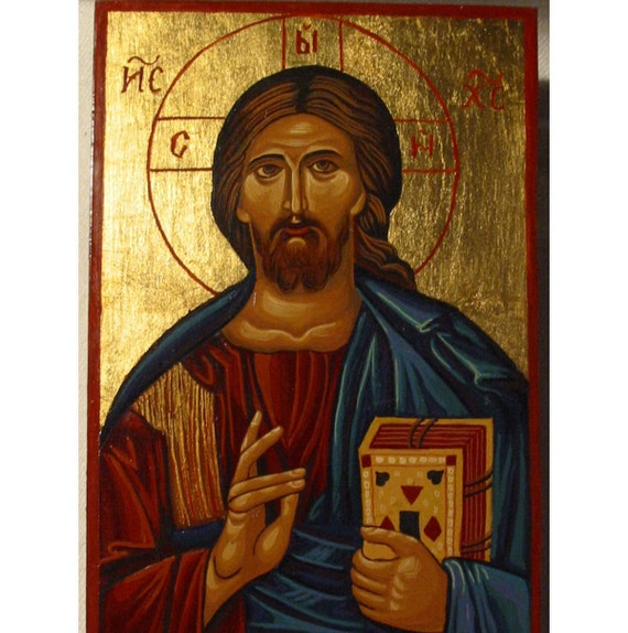 "Handpainted Icon of Christ Pantocrator (""Almighty"" or ""All-powerful"")"