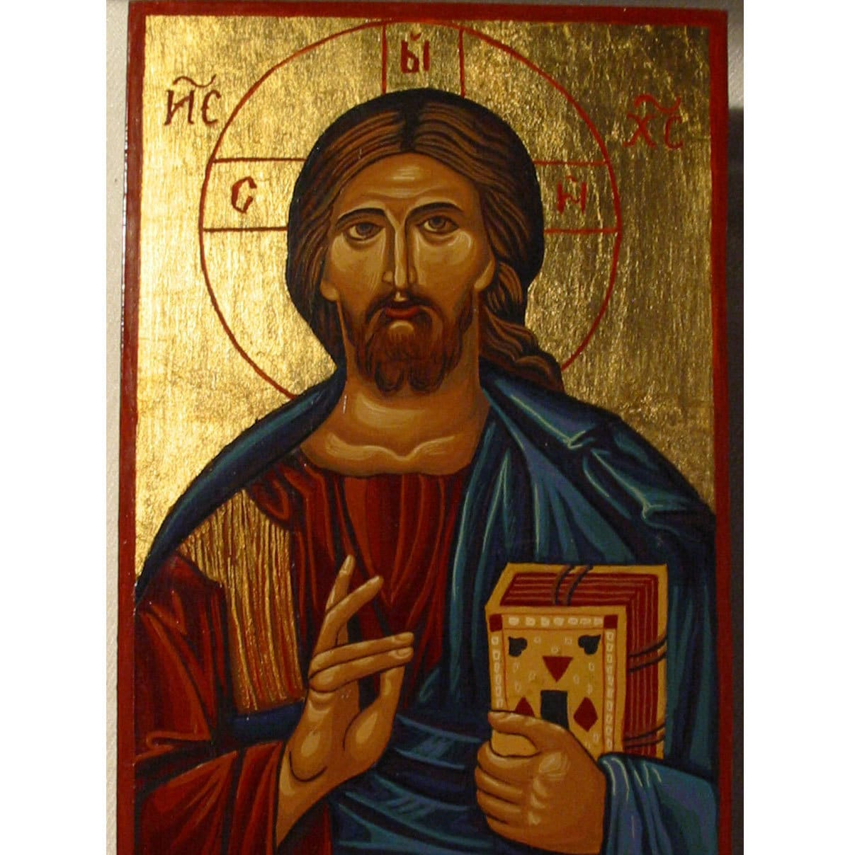 Handpainted Icon of Christ Pantocrator Almighty Christ As Pantokrator