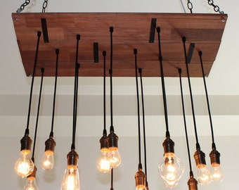 Rustic Chandelier made from salvaged hardwood floor