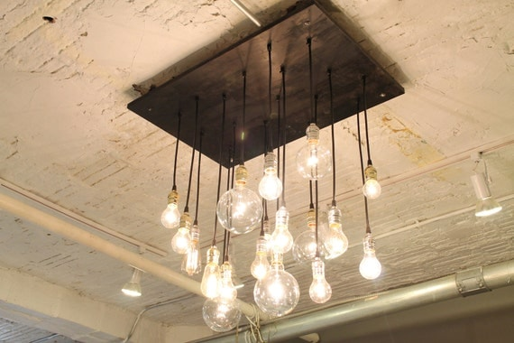 Last Call Discontinuing This Model - Industrial Chandelier with vintage bulbs & Your Choice Specialty Socket Finish Options