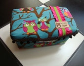 Boutique Diaper Wipes Tub Owl Print Turqoise Lime Pink Brown