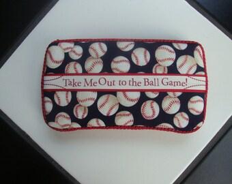 Diaper wipes travel case Boy Baseball Game  Red White Blue Game