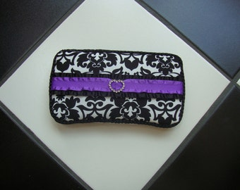 Diaper wipes travel case Damask print  Purple and Black