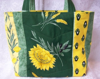 Sunflower Market Bag, Shopping Tote, Purse in Country French Green and Yellow French Provencal Fabric with Sunflowers, Olives and Lemons