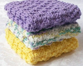 Dish Cloths, Wash Cloth - Country French Lavender & Sunflower Collection - Set of Three - Hand Knit Spa / Face Cloths or Cleaning Cloths