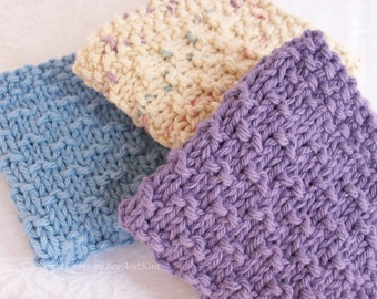 Dish Cloths, Wash Cloths, Face Cloths, Spa Cloths - Set of Three Hand Knit Cotton Cloths in Provencal Colors For French Country Kitchen/Bath