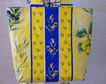 Handmade Quilted Purse, Shopping Tote, Market Bag, Craft Bags, Totes - Lemons, Mimosa, and Olives - Yellow & Blue French Provencal Fabric