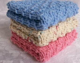 Dish Cloths, Wash Cloth, Face Cloths, Spa Cloth - Hand Knit Set of Three Country French Cotton Cloths - Cornflower Blue, Rose, Natural Ombre