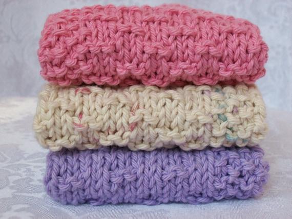 Wash Cloths, Dish Cloths, Face Cloths, Cleaning Cloths - Hand Knit Set of Three Cotton Cloths