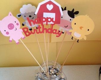 6 Piece Farm Animal Old Macdonald Barnyard Birthday Centerpiece