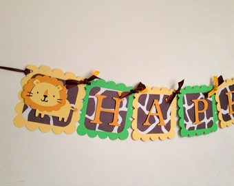 Jungle Safari Animal Happy Birthday Banner
