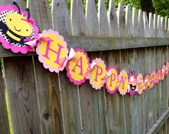 Bee Birthday Banner, Bumble Bee Banner, Girly Bee Banner, Bee First Birthday, Bumble bee Birthday Decorations, Pink Bee Banner, Bee Banner