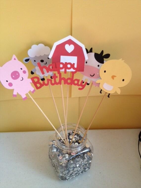 6 Piece Farm Centerpiece Sticks, Farm Birthday, Barnyard Birthday, Farm Table Decorations, First Birthday, Barnyard Table Decorations, Cow