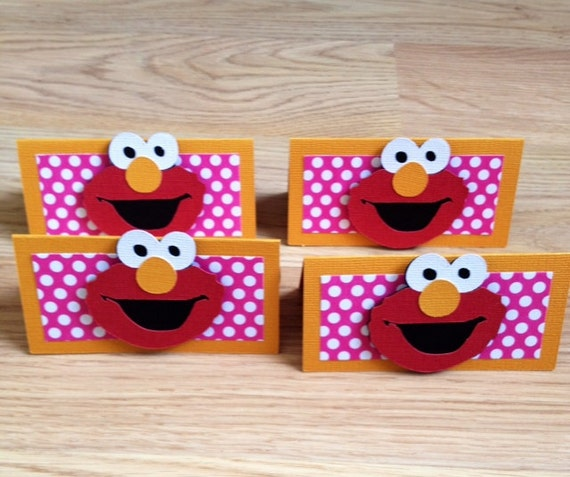 12 Girly Elmo Inspired Treat Bag Toppers