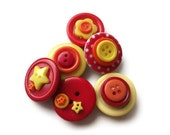 Red, Orange and Yellow Button Magnets: bright button magnets, plastic / acrylic buttons mix, stars and circles, set of 6