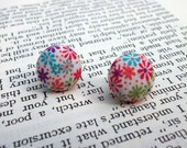 Flower Fabric Post Earrings :  green, turquoise, orange, red, purple, white flower Liberty fabric covered studs with silver tone posts