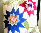 """Felt Flower and Leaf Applique and Embroidered Colorful Flower Pillow 16"""" x 16"""""""