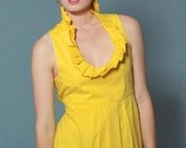 SAMPLE SALE Women's Bright Yellow Spring Party or Cocktail Dress With High Pleated Collar