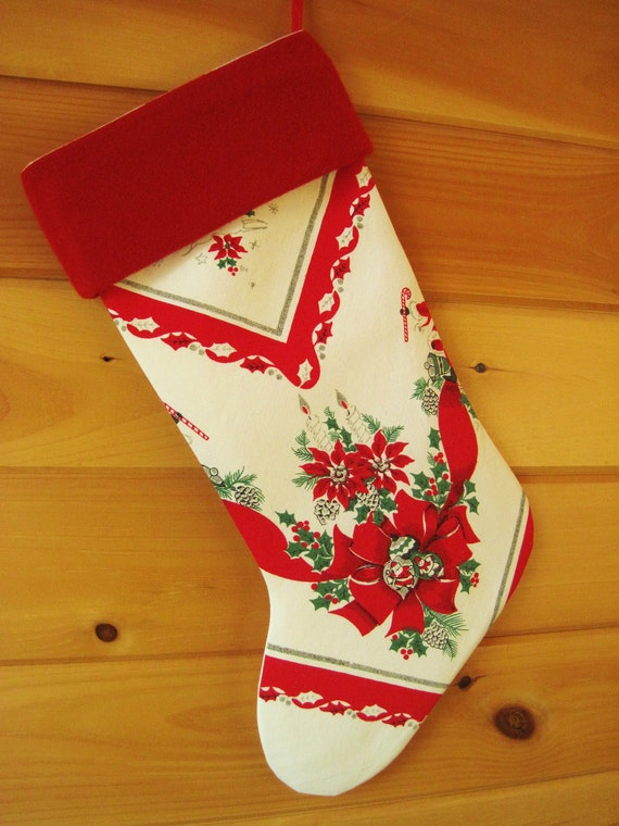 CUSTOM ORDER FOR Remy Davis Only: Large Vintage Christmas Stocking / Christmas Tablecloth Stocking / Cottage Chic Stocking