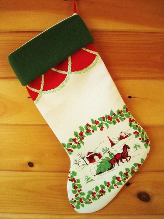 Vintage Christmas Stocking / Christmas Stocking / Large Stocking / Christmas Tablecloth Stocking / Cottage Chic Stocking / Christmas tree