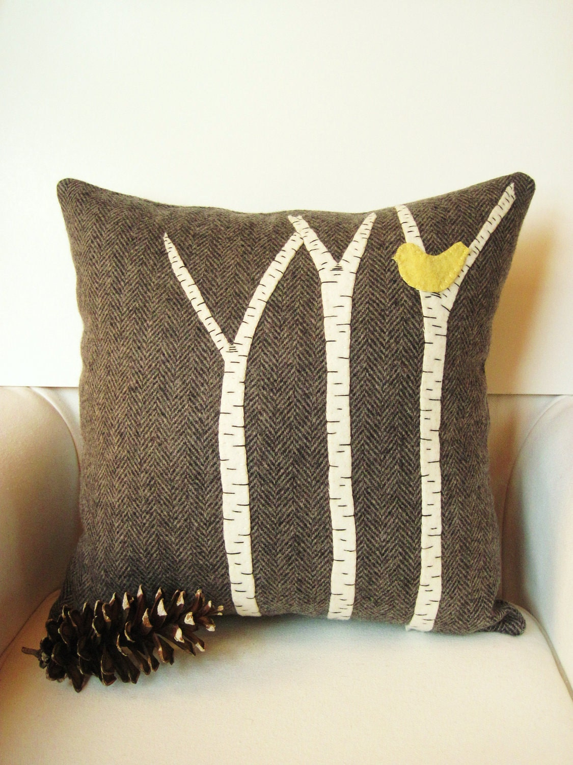 Decorative pillow wool fabric applique wool pillow cabin - Fabric for throw pillows ...
