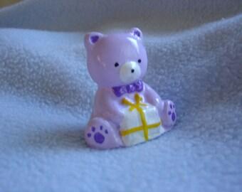 Purple Bear -  Miniature Cement Statue Figurine - Indoor Outdoor Decoration - Desk, Table, Party,