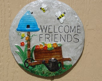 Welcome Friends Bee Hive - Cement Plaque - Indoor Outdoor Decoration - Free Shipping