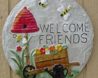 Welcome Friends Bee Hive - Cement Plaque - Indoor Outdoor Decoration - Garden, Party, Garage, Entryway
