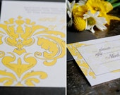 Damask Square Wedding Invitation Suite- simple and modern (deposit)