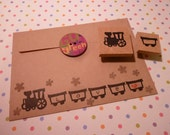 Train Rubber Stamp Set Hand Carved