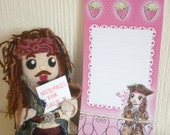 Jack Sparrow Merry Strawberry  Long Notepads - Pirates of the Caribbean - Pink