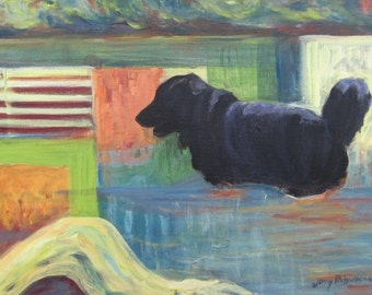 "River Dog, 18 x 24"", original acrylic painting"