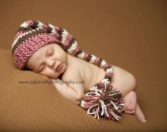Custom order Newborn crochet elf long tassle hat with pom pom puffball - photo prop