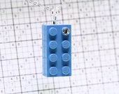 Blue Pendant Necklace made with LEGO (R) and Swarovski Crystal
