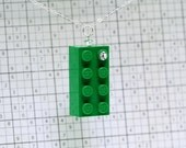 Green Necklace Pendant made with LEGO (R) and Swarovski Crystal